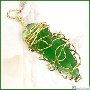 BOGO💫Wire Wrapped Green Sea Glass Pendant